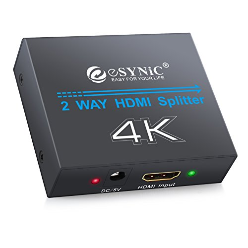 eSynic HDMI Splitter 1 X 2 4K Powered HDMI Splitter 1080P Amplifier Adapter 1 In 2 Out HDMI Switch Support 3D CEC with US Plug for Apple TV PS3 PS4 Xbox Blu-ray - 1 HDMI to 2 HDMI