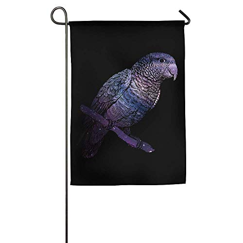 HUVATT Fashion Starry Animal of Parrot Garden Flag Indoor & Outdoor Decorative Flags for Parade Sports Game Family Party Wall Banner 28 x 40 inch