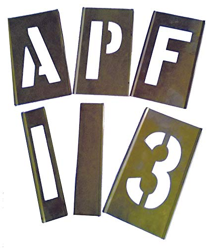Interlocking Stencil, Letters and Numbers, 4'', Brass, 1 EA - 3W648