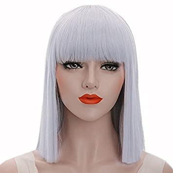 Gray Bob Wig Women Silver color Straight 14 quot  long Hair Cosplay Wig  with Bangs Synthetic 3f01fa492