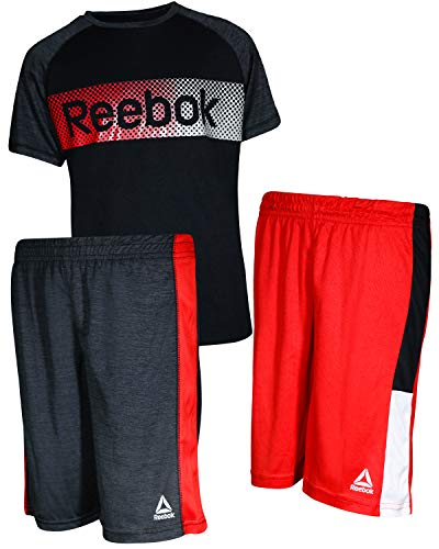 Reebok Boys\' 3 Piece Performance Sports T-Shirt and Short Set, Black/Red, Size 4'