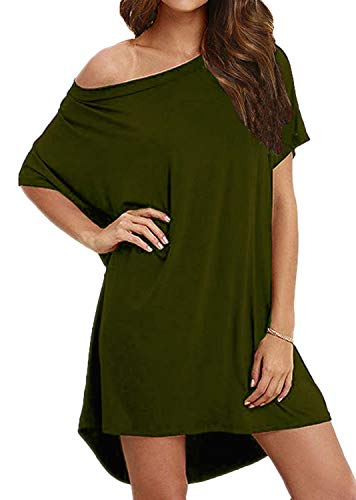 - BLUETIME Women's Casual One Shoulder T Shirt Dress Batwing Sleeve High Low Short Mini Dress (M, Army Green)