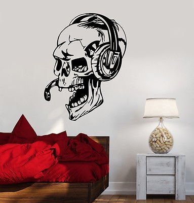 Vinyl Decal Gamer Skull Headphones Gaming Video Games Wall Stickers VS450