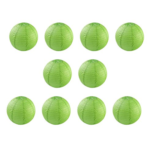 10pcs 12-inch Round Paper Lanterns with Wire Ribbing (Green) - 1