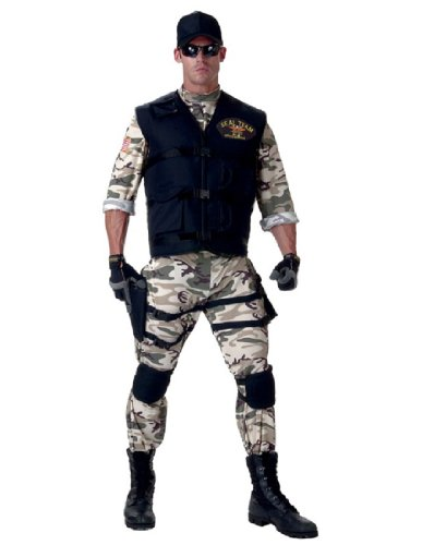 [Underwraps Men's Seal Team Adult Standard, Camo/Black, Teen] (Military Costumes For Teens)