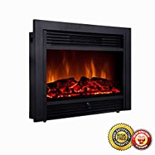 """New 28.5"""" Embedded Fireplace Electric Insert Heater Glass View Log Flame Remote Home"""