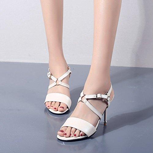 mit Mee Stiletto Shoes Damen Schnalle Weiß Sweet Sandalen Xtrtq7
