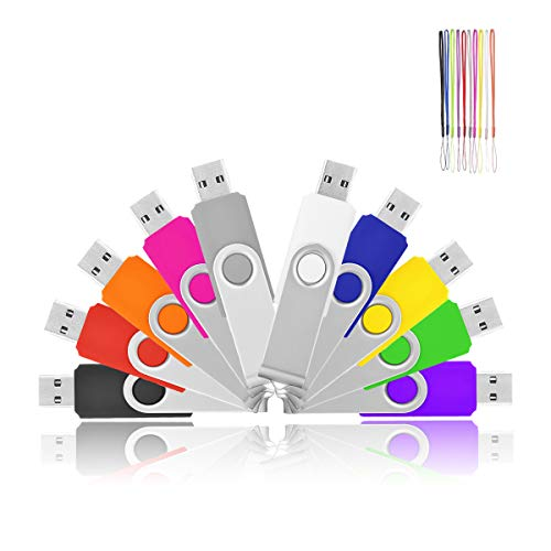 (Flash Drive 2GB 10 Pack HKUU USB 2.0 Memory Sticks Thumb Drive Swivel Keychain Design(Black/Grey/White/Yellow/Red/Pink/Orange/Green/Blue/Purple))
