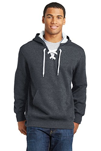 (Joe's USA Mens Lace Up Pullover Hooded Sweatshirt-Graphite.Heather-L)