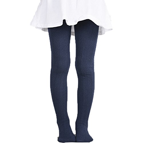 Monvecle Girls' Thick Cotton Stockings Socks Stretch Cable Knit Footed Tights Navy 6-8 from Monvecle