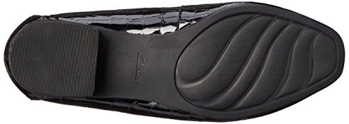 Clarks Womens Keesha Luca Slip-on Mocassino Nero In Vernice Di Coccodrillo