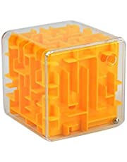 Early Childhood Toy Transparent 3D Tomb Stereo Maze Pinball Adult Intelligence Decompression Cube Toy(Yellow)
