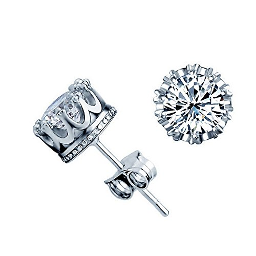 Acxico Crown Shape with Diamond Inlaid Stud Earrings
