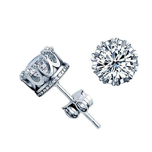 ith Diamond Inlaid Stud Earrings (Crown Earrings)