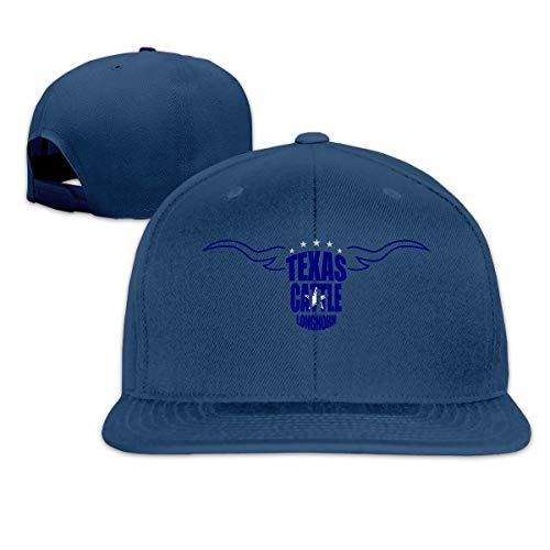 (Aiamu Funny Texas Cattle Longhorn Cowboys Football Adjustable Cotton Hat Unisex Hip Hop Baseball Caps Navy)