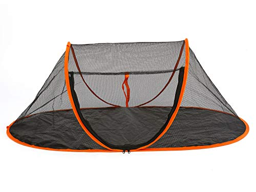 Fooubaby Cat Tent Pop Up Cat House Outside Pet Enclosure Tent Indoor Playpen Portable for Cats Small Dogs in Deck, Yard, Patio, Park, Camping, Travel Outdoor in Summer (Black Net and Orange Edge)