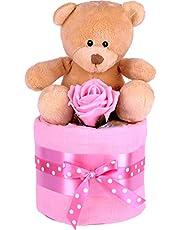 Bebé niñas Mini Zebra – tarta de pañales, Baby Shower regalo, rosa bebé cesta