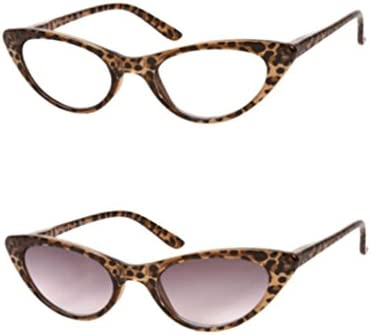 070471fada52 Amazon.com  The Brit and The Ashlee Unisex Cat Eye Reading Glasses and Sun  Readers +2.50 (2 Pair) Brown Leopard (2 Carrying Cases Included)  Health ...