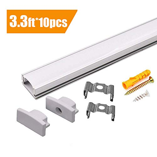 Starlandled 10-pack Aluminum Led Channel for Led Strip Lights Installation,Easy to Cut,Professional Look,U-shape Led Aluminum Channel with Cover and Complete Mounting Accessories for Easy Installation by StarlandLed