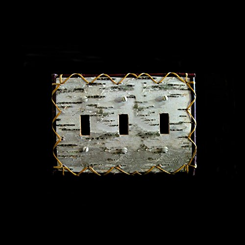 BINESHII Real Birch Bark Decorative Switch/Toggle Electrical Plate Covers Hardcrafted Custom Choice White Birch Bark Reversed Real Birch Bark A Rustic Leather Look. (Triple Switch) ()