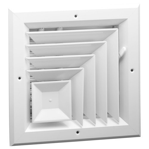 8' x 8' 2-WAY CORNER ALUMINUM CEILING DIFFUSER - With Oposing Dampers via Lever Control