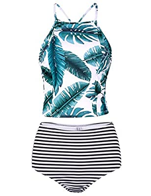 Verano Playa Women Lace Up Tankini Swimsuit Criss Cross Back High Neck Two Piece Bathing Suit Padded High Waist Swimwear