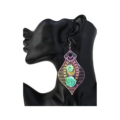 MJW&EH Femme Boucles d'oreille goutte énorme Coloré Alliage Ovale Bijoux Quotidien Sortie Bijoux de fantaisie