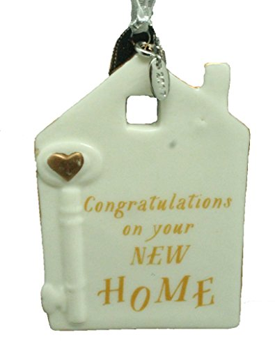 2017 Congratulations On Your New Home Ornament, Realtor Ornament New House Ornament Ceramic Bisque Ivory 3