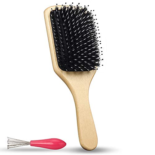 Natural Boar Bristle Hair brush, Hairbrush with Nylon Pins, Wooden larger Handle hair comb,massage hair brush for women men kids girls,long,Thick,Curly, Straightening,Wavy,Dry and Damaged Hair