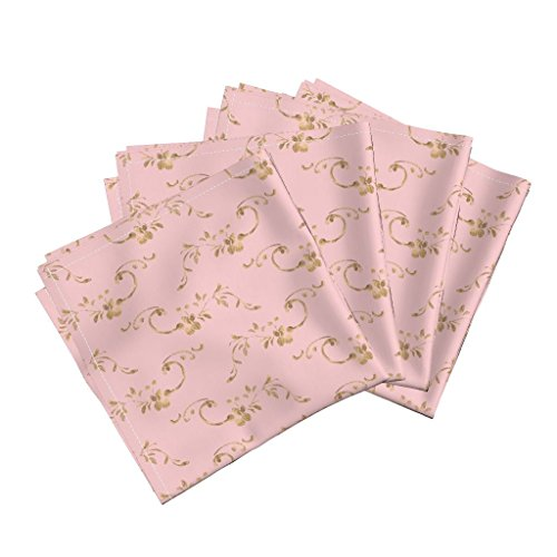 Petite Sateen - Calico Rose Floral Shabby Chic Dauphine Pink Gilt Organic Sateen Dinner Napkins Petit Trianon ~ Calling Card by Peacoquettedesigns Set of 4 Dinner Napkins