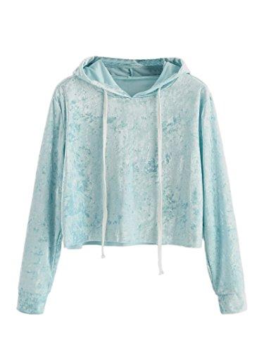 Blue Sweatshirt Top (Romwe Women's Velvet Drawstring Raw Cut Hem Long Sleeve Hoodie Crop Top Sweatshirt Light-Blue S)