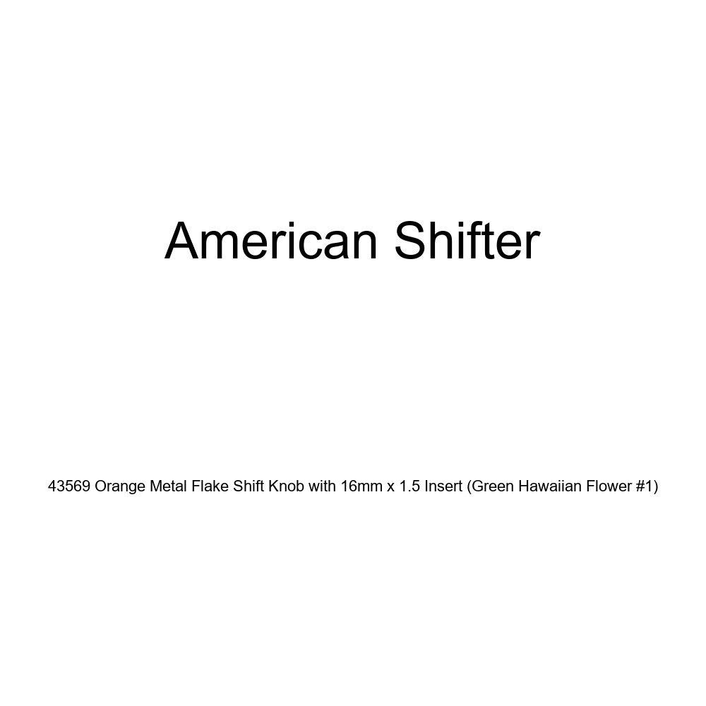 American Shifter 43569 Orange Metal Flake Shift Knob with 16mm x 1.5 Insert Green Hawaiian Flower #1