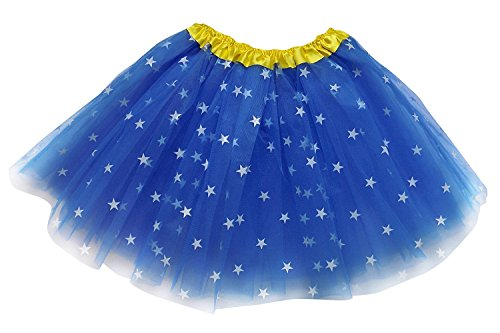 So Sydney Adult, Plus, Kids Size SUPERHERO TUTU SKIRT Halloween Costume Dress Up (L (Adult Size), Royal Blue Stars (Wonder (Wonder Woman With Tutu)