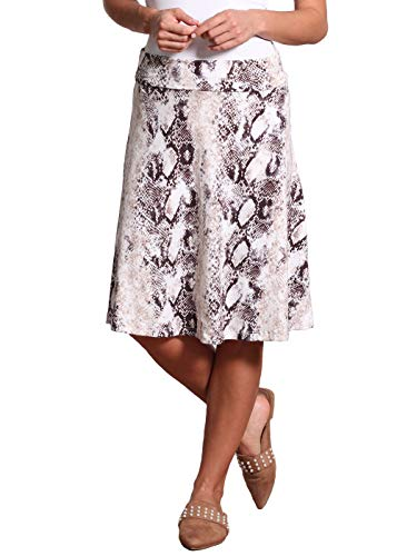 Popana Womens Casual Knee Length A-Line Stretch Midi Skirt Plus Size Made in USA Size L DT44 Snake Skin