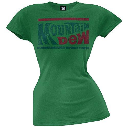 Mountain Dew   Womens Distressed Logo Juniors T Shirt Small Green