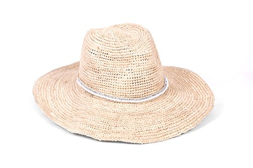 'ale by alessandra Women's Cody Crochet Raffia Sunhat Packable, Adjustable and Upf Rated, Natural/White, One Size by ale by Alessandra