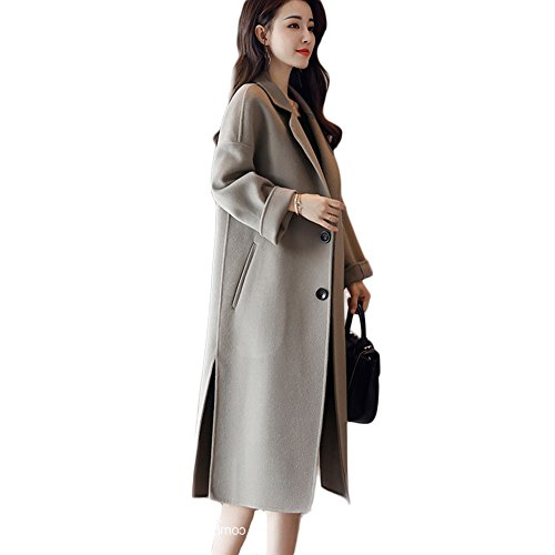 Women's Wool Coat, Notched Lapel Botton Closure Side Slit Wool-Blend Long Coat(Brown, Dark Green, Black) (Wool Coat Slit Side)