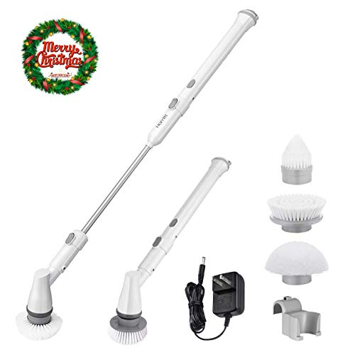 Homitt Electric Spin Scrubber Power Brush, Cordless Shower Scrubber with 3 Replaceable Bathroom Scrubber Cleaning Brush Heads, 1 Extension Arm and Adapter for Tub, Tile, Floor, Wall and Kitchen