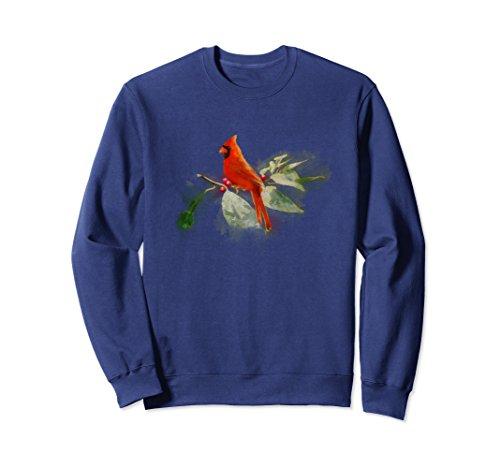Unisex Wild Red Cardinal Bird Sweatshirt Small Navy