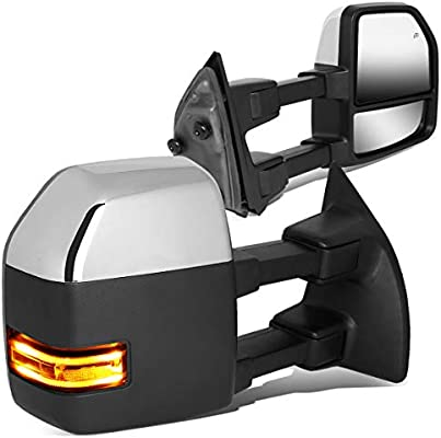A PAIR NEW HEAVY DUTY TELESCOPING POWERED HEATED TOW MIRRORS w// LED SIGNAL LIGHT