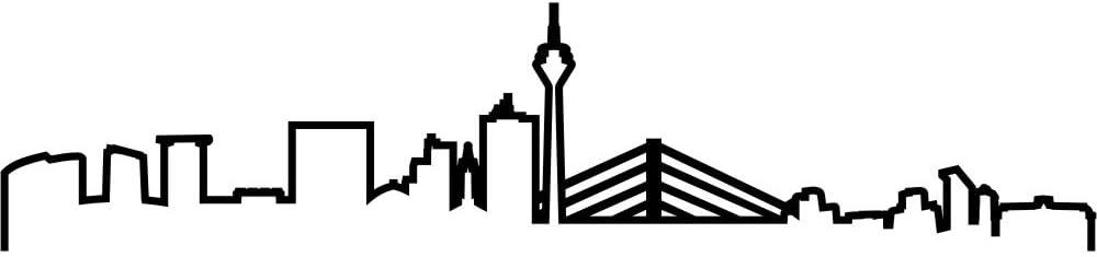 Samunshi Düsseldorf Skyline Aufkleber Silhouette In 8 Größen Und 25 Farben 20x4 5cm Schwarz Küche Haushalt