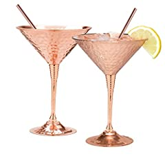 What would make a great gift for a person that has everything? Luxurious martini glass set with copper straws is a variant that would make your gift so special and original. Why is copper goblet so special - it looks great and keeps your drin...