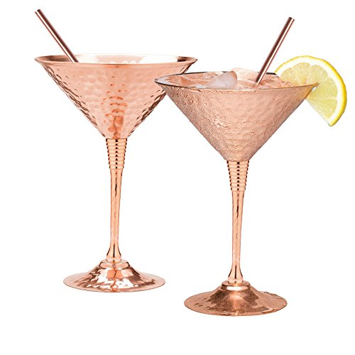 Copper martini glasses set of 2 by Mosscoff - 9.5oz Hand hammered solid copper goblets with exquisite reinforcement ring. - Bonus pure copper straws - A gift set no one can resist. (Glass Ring Cocktail)