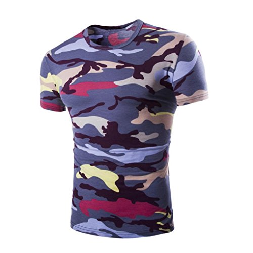 Han Shi Blouse, Men Camouflage Print Shirt Short Sleve O-Neck T-Shirts Tank Top Tee (L, Dark Gray)