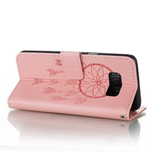 Funda Samsung Galaxy S8,Funda Libro Suave PU Leather Cuero impresión- EMAXELERS Carcasa Con Flip case cover,Funda Galaxy S8 gofrado diseño afortunado del trébol Flip case cover,wallet Case para Galaxy D Pink Dreamcatcher