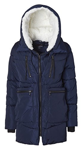 Belted Puffer - Sportoli Women Fashion Winter Side Zip Lined Puffer Parka Coat Sherpa Lined Hood - Indigo (Size Small)