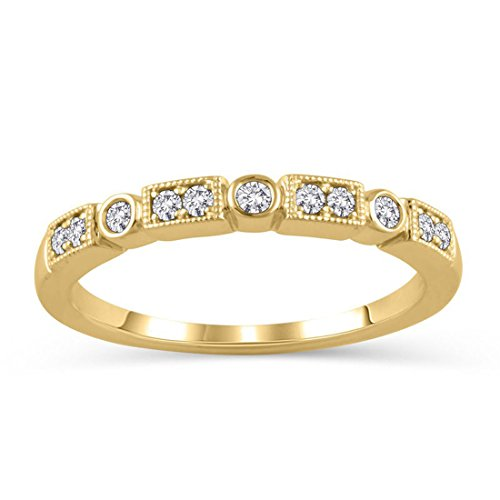 1/6 Ct Diamond Alternating Vintage-Style Stackable Wedding Band in 14K Solid Gold (HI/12) ()