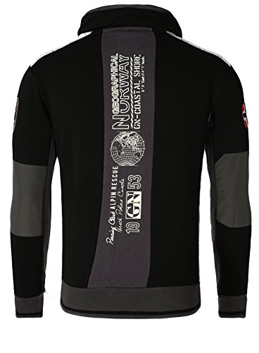 Geographical Norway Delgado Fit Negro capucha Hombres Chaqueta con 7Pdx5wP8