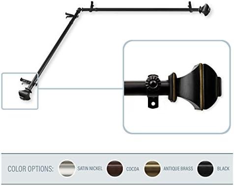 A & Fロッド飾り–Phifeコーナーウィンドウカーテンロッド 120-170 inch ブラック 82B99-CORNER