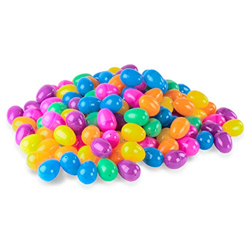 144 Count Plastic Easter Eggs Surprise Toys Blind Bags Colorful Assortment Bright Empty Shells, Crafts Basket Stuffers for Party Hunt Games (Regular Size)]()